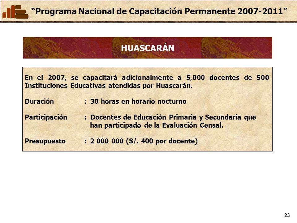 Programa Nacional de Capacitación Permanente 2007-2011 23 HUASCARÁN En el 2007, se capacitará adicionalmente a 5,000 docentes de 500 Instituciones Educativas atendidas por Huascarán.