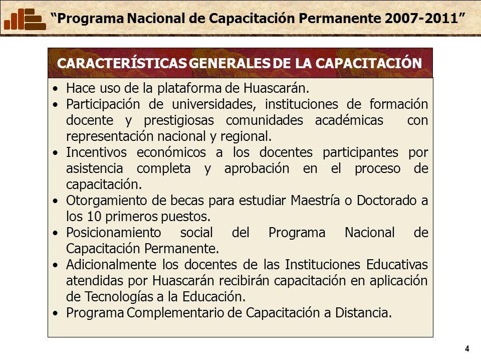 Programa Nacional de Capacitación Permanente 2007-2011 4 Hace uso de la plataforma de Huascarán. Participación de universidades, instituciones de form