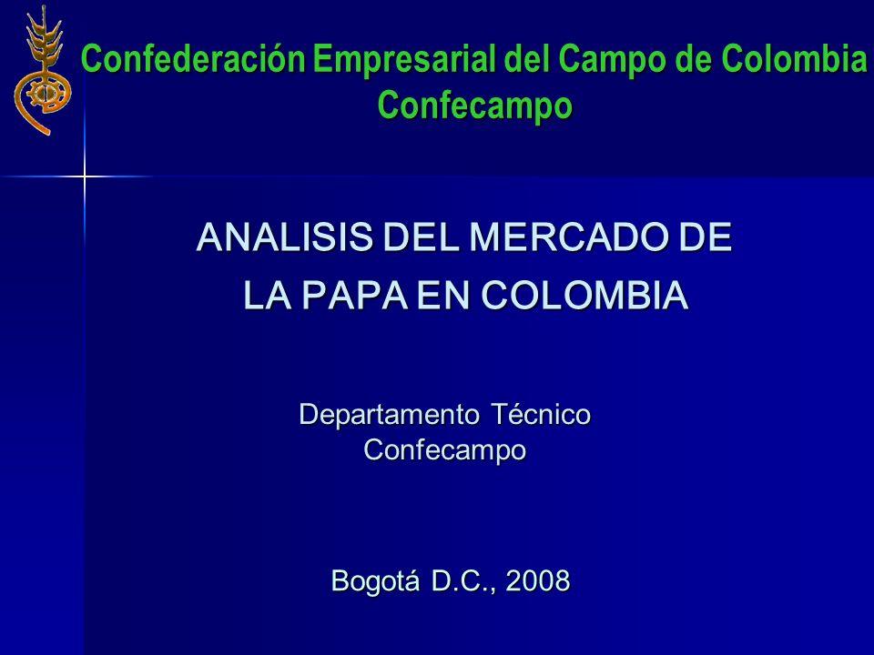 ANALISIS DEL MERCADO DE LA PAPA EN COLOMBIA Bogotá D.C., 2008 Departamento Técnico Confecampo Confederación Empresarial del Campo de Colombia Confecam