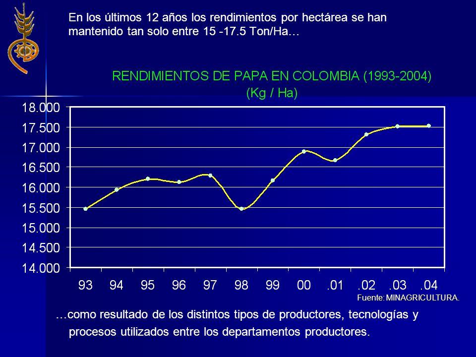 En los últimos 12 años los rendimientos por hectárea se han mantenido tan solo entre 15 -17.5 Ton/Ha… Fuente: MINAGRICULTURA. …como resultado de los d