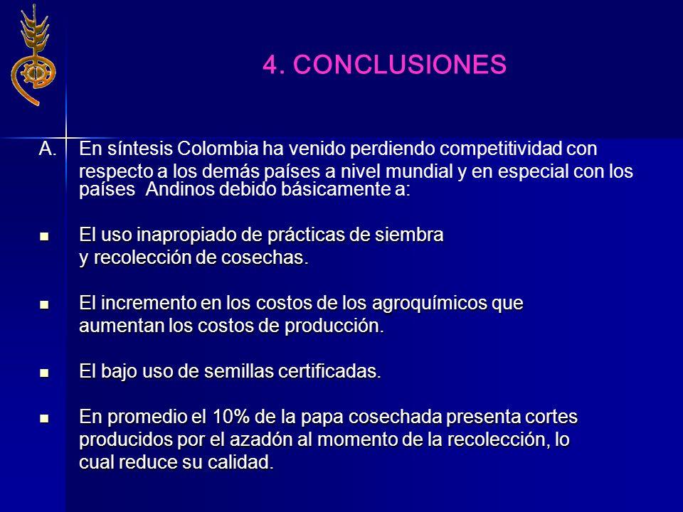 A. En síntesis Colombia ha venido perdiendo competitividad con respecto a los demás países a nivel mundial y en especial con los países Andinos debido