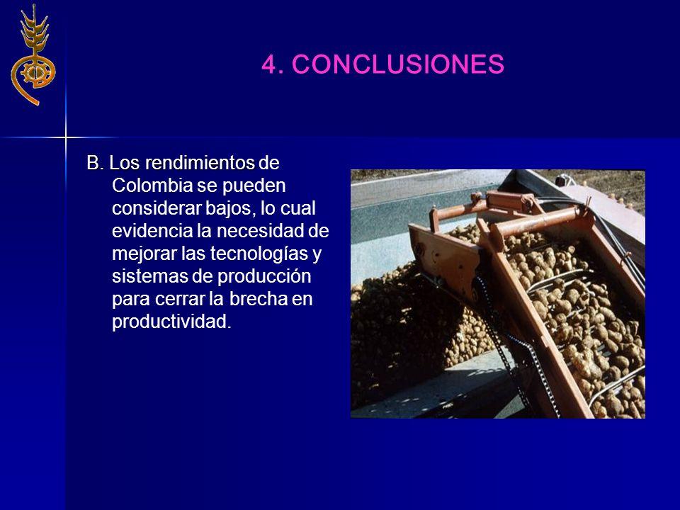 B. Los rendimientos B. Los rendimientos de Colombia se pueden considerar bajos, lo cual evidencia la necesidad de mejorar las tecnologías y sistemas d