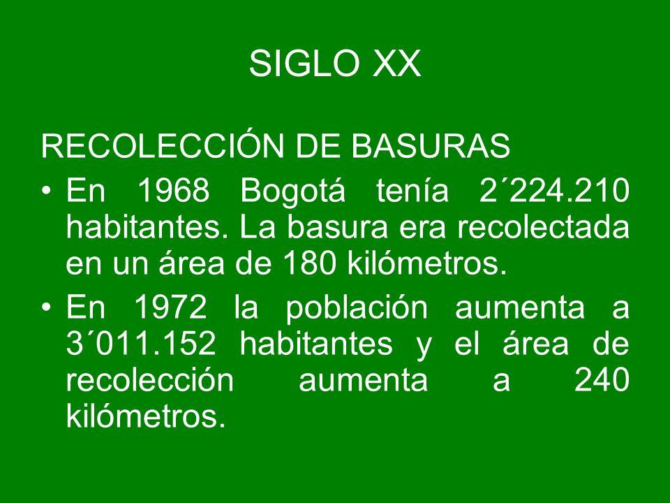 RECOLECCIÓN DE BASURAS En 1968 Bogotá tenía 2´224.210 habitantes. La basura era recolectada en un área de 180 kilómetros. En 1972 la población aumenta