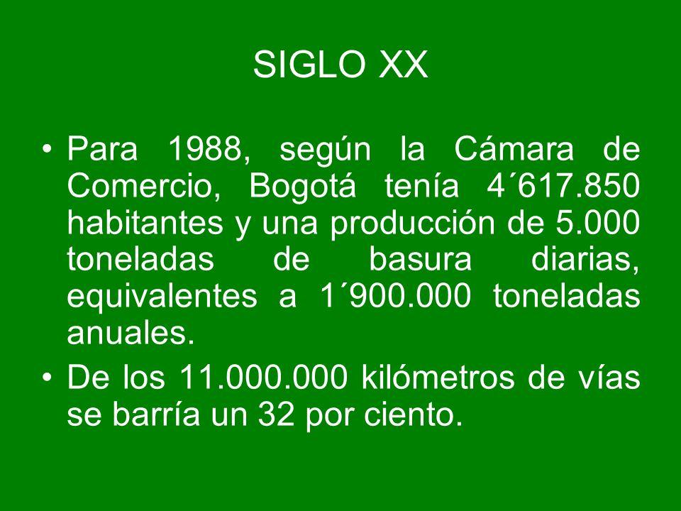 Para 1988, según la Cámara de Comercio, Bogotá tenía 4´617.850 habitantes y una producción de 5.000 toneladas de basura diarias, equivalentes a 1´900.