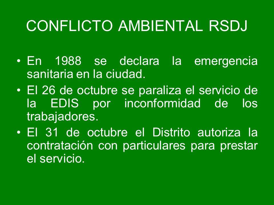En 1988 se declara la emergencia sanitaria en la ciudad. El 26 de octubre se paraliza el servicio de la EDIS por inconformidad de los trabajadores. El