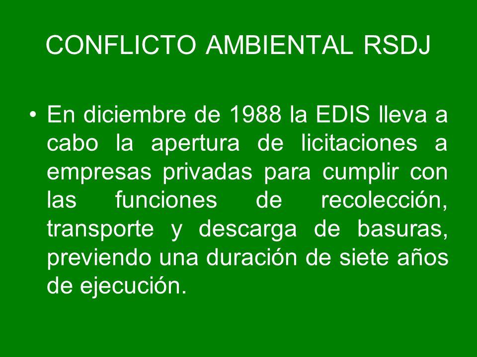 En diciembre de 1988 la EDIS lleva a cabo la apertura de licitaciones a empresas privadas para cumplir con las funciones de recolección, transporte y
