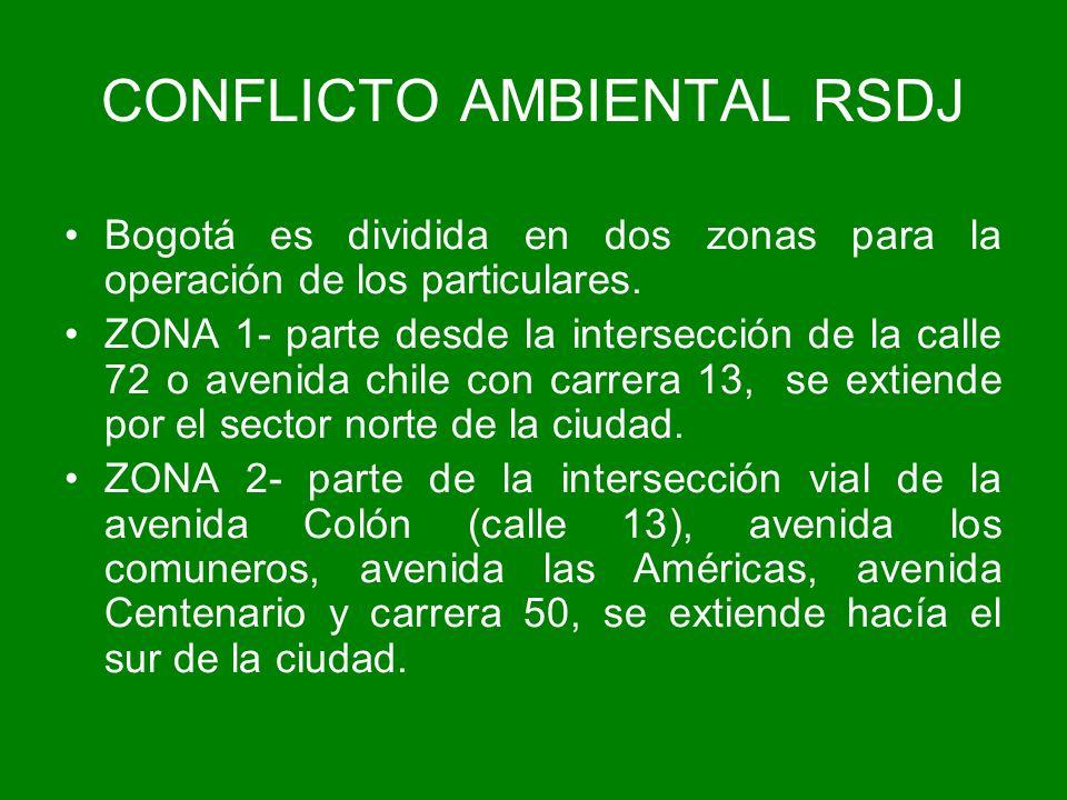 Bogotá es dividida en dos zonas para la operación de los particulares. ZONA 1- parte desde la intersección de la calle 72 o avenida chile con carrera