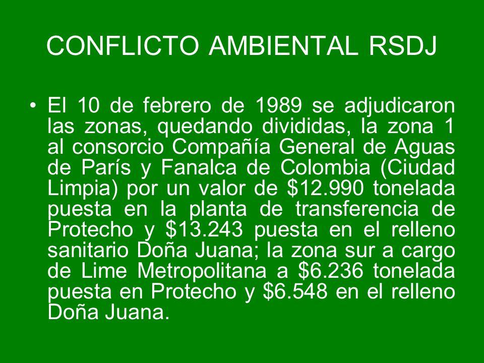 El 10 de febrero de 1989 se adjudicaron las zonas, quedando divididas, la zona 1 al consorcio Compañía General de Aguas de París y Fanalca de Colombia