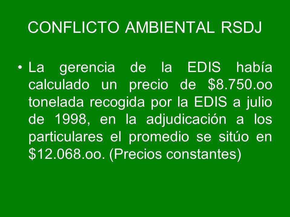 La gerencia de la EDIS había calculado un precio de $8.750.oo tonelada recogida por la EDIS a julio de 1998, en la adjudicación a los particulares el