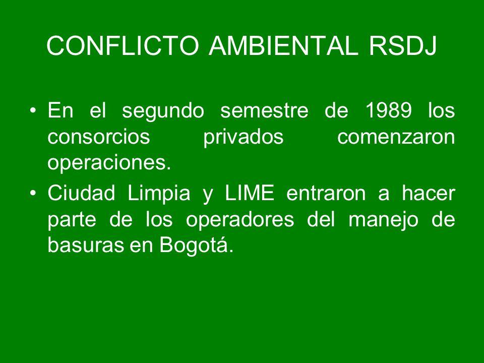 En el segundo semestre de 1989 los consorcios privados comenzaron operaciones. Ciudad Limpia y LIME entraron a hacer parte de los operadores del manej
