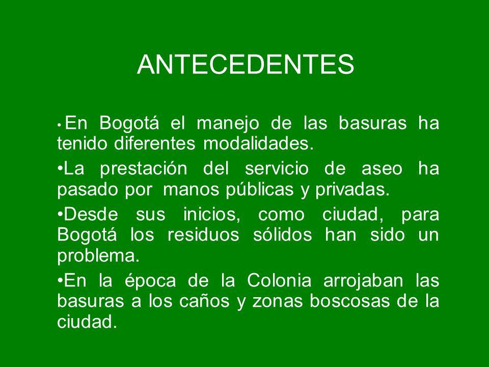 ANTECEDENTES En Bogotá el manejo de las basuras ha tenido diferentes modalidades. La prestación del servicio de aseo ha pasado por manos públicas y pr