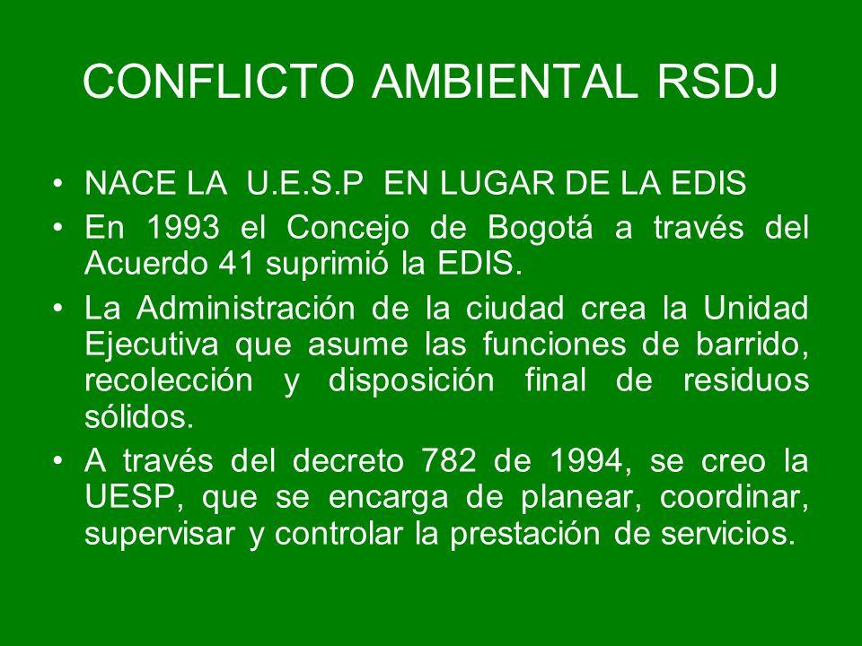 NACE LA U.E.S.P EN LUGAR DE LA EDIS En 1993 el Concejo de Bogotá a través del Acuerdo 41 suprimió la EDIS. La Administración de la ciudad crea la Unid