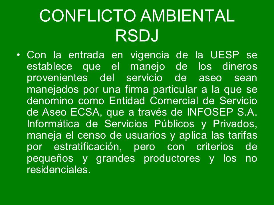 CONFLICTO AMBIENTAL RSDJ Con la entrada en vigencia de la UESP se establece que el manejo de los dineros provenientes del servicio de aseo sean maneja