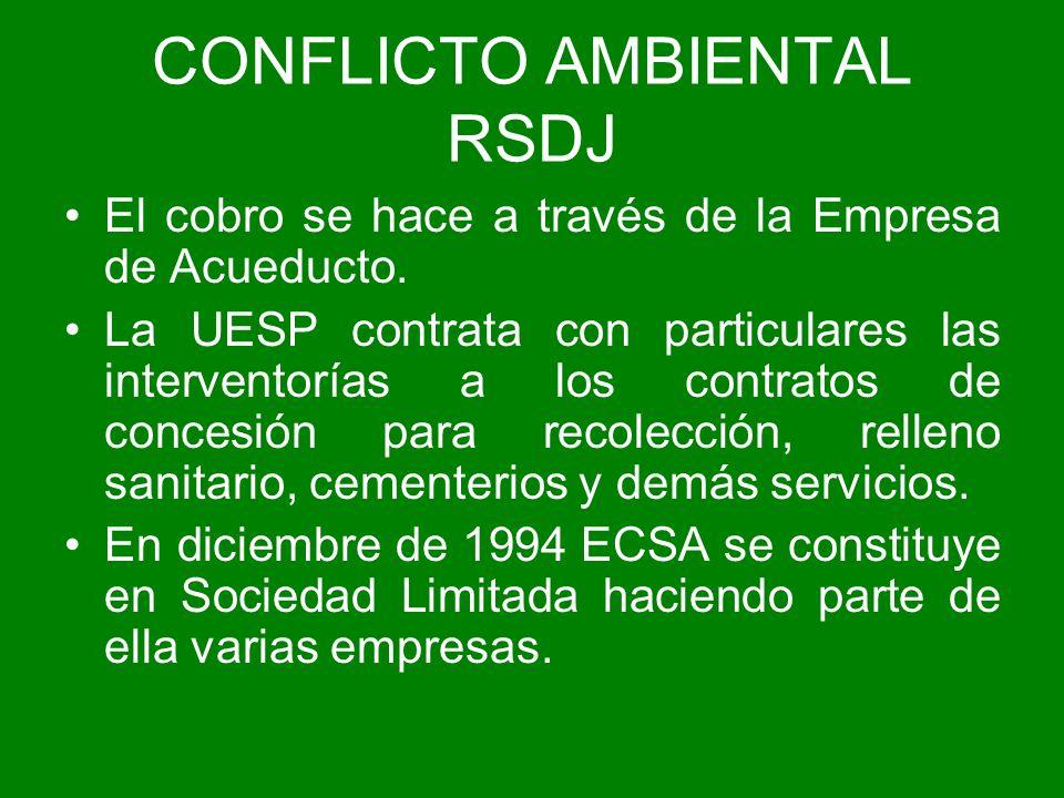 CONFLICTO AMBIENTAL RSDJ El cobro se hace a través de la Empresa de Acueducto. La UESP contrata con particulares las interventorías a los contratos de
