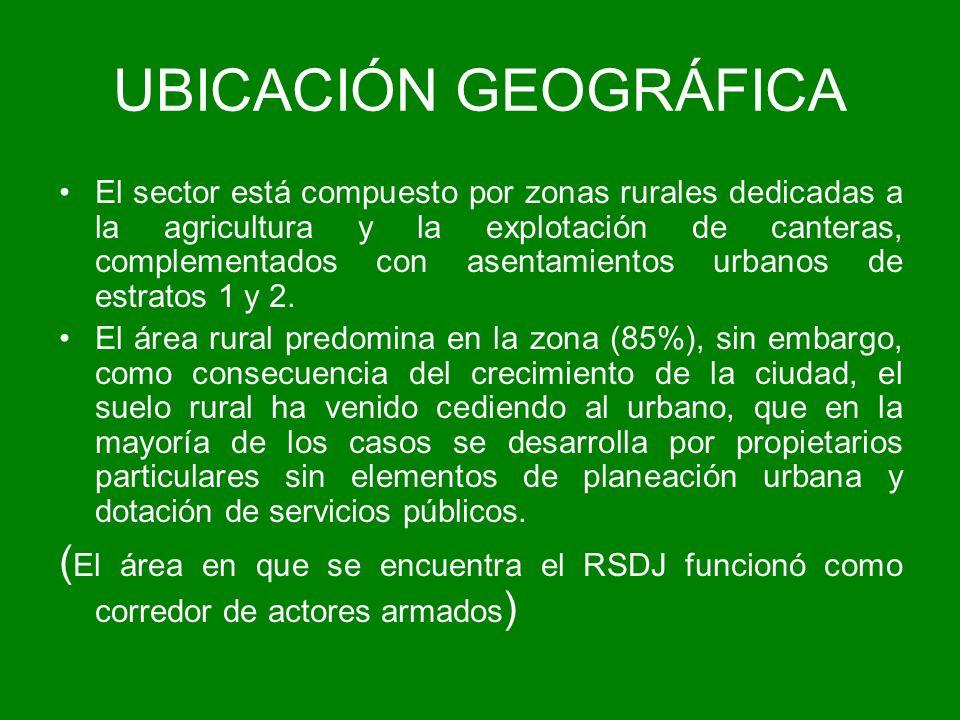 UBICACIÓN GEOGRÁFICA El sector está compuesto por zonas rurales dedicadas a la agricultura y la explotación de canteras, complementados con asentamien