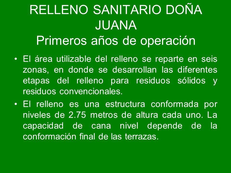 RELLENO SANITARIO DOÑA JUANA Primeros años de operación El área utilizable del relleno se reparte en seis zonas, en donde se desarrollan las diferente