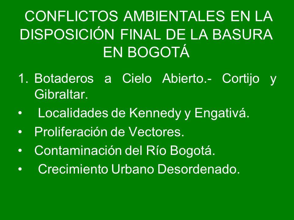 1.Botaderos a Cielo Abierto.- Cortijo y Gibraltar. Localidades de Kennedy y Engativá. Proliferación de Vectores. Contaminación del Río Bogotá. Crecimi