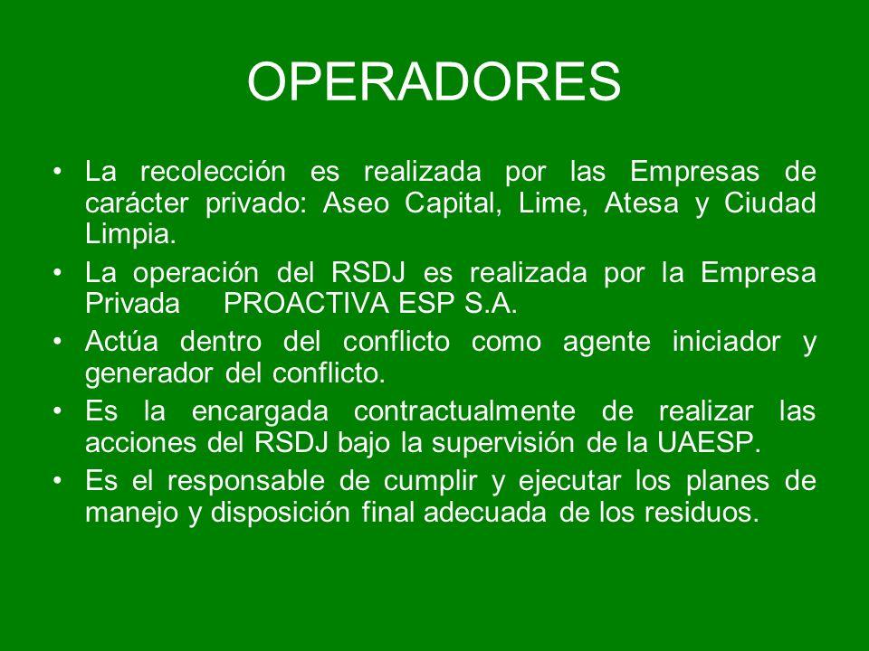 OPERADORES La recolección es realizada por las Empresas de carácter privado: Aseo Capital, Lime, Atesa y Ciudad Limpia. La operación del RSDJ es reali