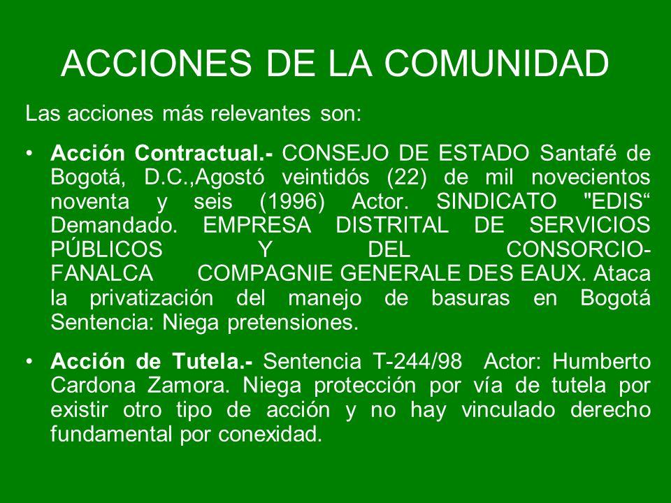 ACCIONES DE LA COMUNIDAD Las acciones más relevantes son: Acción Contractual.- CONSEJO DE ESTADO Santafé de Bogotá, D.C.,Agostó veintidós (22) de mil