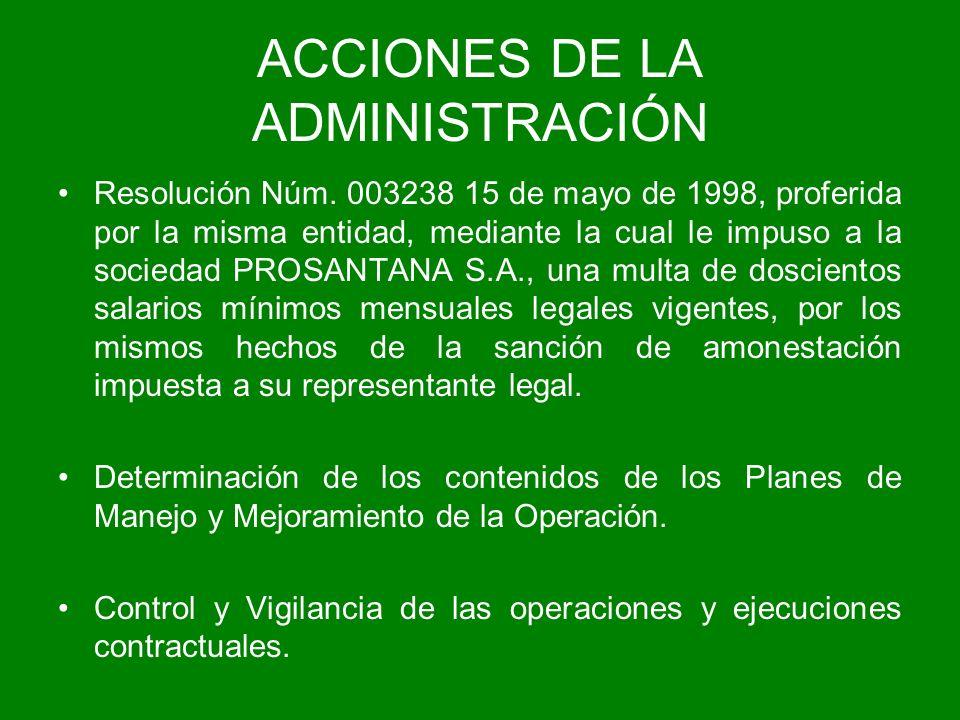 ACCIONES DE LA ADMINISTRACIÓN Resolución Núm. 003238 15 de mayo de 1998, proferida por la misma entidad, mediante la cual le impuso a la sociedad PROS
