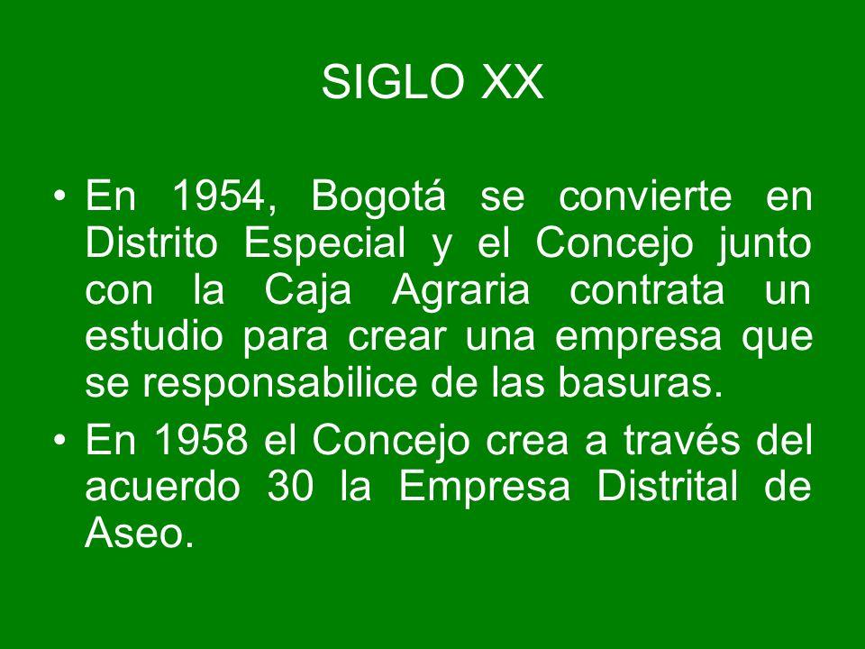 En 1954, Bogotá se convierte en Distrito Especial y el Concejo junto con la Caja Agraria contrata un estudio para crear una empresa que se responsabil