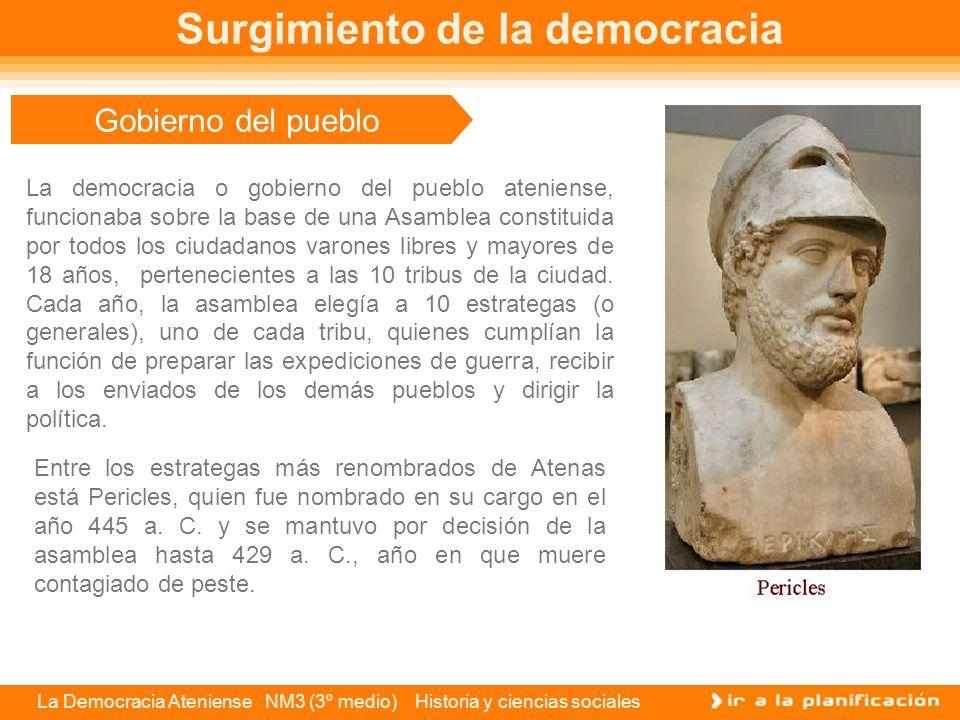 La Democracia Ateniense NM3 (3º medio) Historia y ciencias sociales Solón, el padre de la democracia En el año 549 a.C., la anarquía era inminente en Atenas, pero los diferentes grupos en conflicto eligieron para el arcontado a Solón.