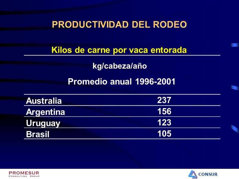 CONSUR PRODUCTIVIDAD DEL RODEO Kilos de carne por vaca entorada Promedio anual 1996-2001 Australia 237 Argentina 156 Uruguay 123 BrasilBrasil 105 kg/c