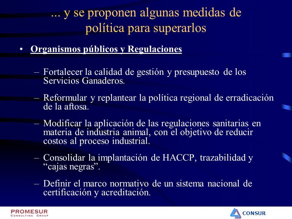 CONSUR... y se proponen algunas medidas de política para superarlos Organismos públicos y Regulaciones –Fortalecer la calidad de gestión y presupuesto