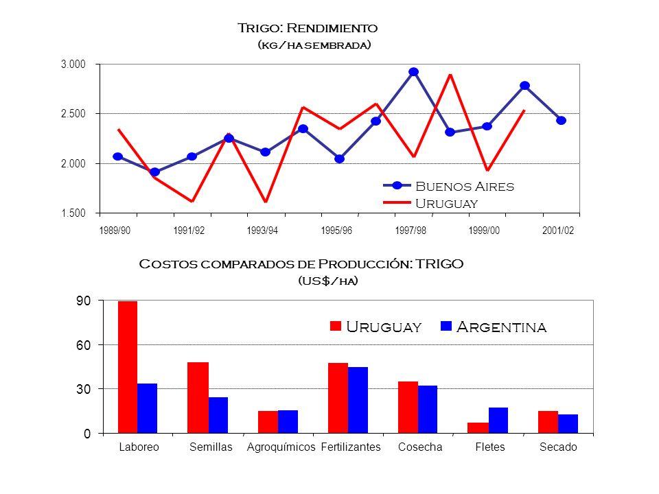 Trigo: Rendimiento (kg/ha sembrada) 1.500 2.000 2.500 3.000 1989/901991/921993/941995/961997/981999/002001/02 Buenos Aires Uruguay Costos comparados d