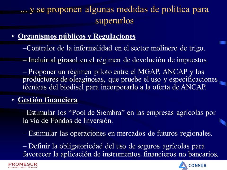 CONSUR Organismos públicos y Regulaciones –Contralor de la informalidad en el sector molinero de trigo. – Incluir al girasol en el régimen de devoluci