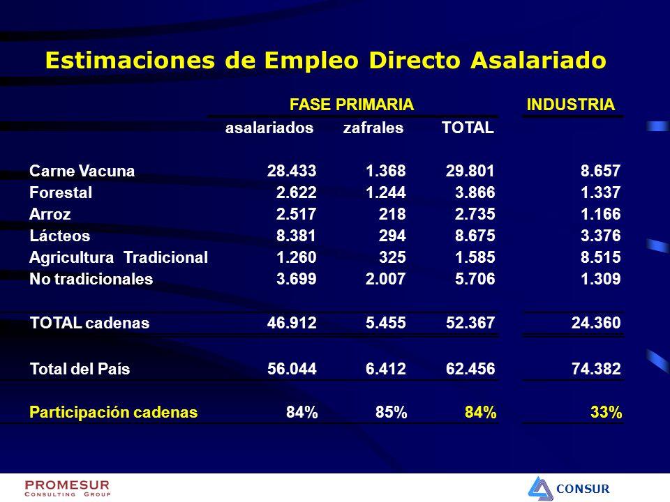 CONSUR Estimaciones de Empleo Directo Asalariado INDUSTRIA asalariadoszafralesTOTAL Carne Vacuna28.4331.36829.8018.657 Forestal2.6221.2443.8661.337 Ar