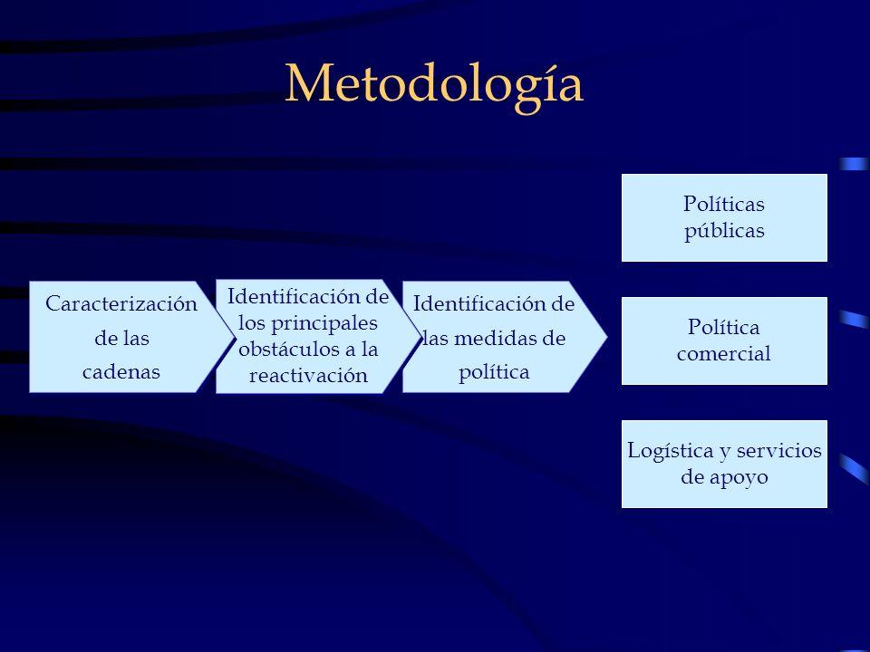 Metodología Identificación de las medidas de política Identificación de los principales obstáculos a la reactivación Caracterización de las cadenas Ca