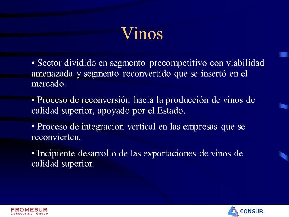 CONSUR Vinos Sector dividido en segmento precompetitivo con viabilidad amenazada y segmento reconvertido que se insertó en el mercado. Proceso de reco