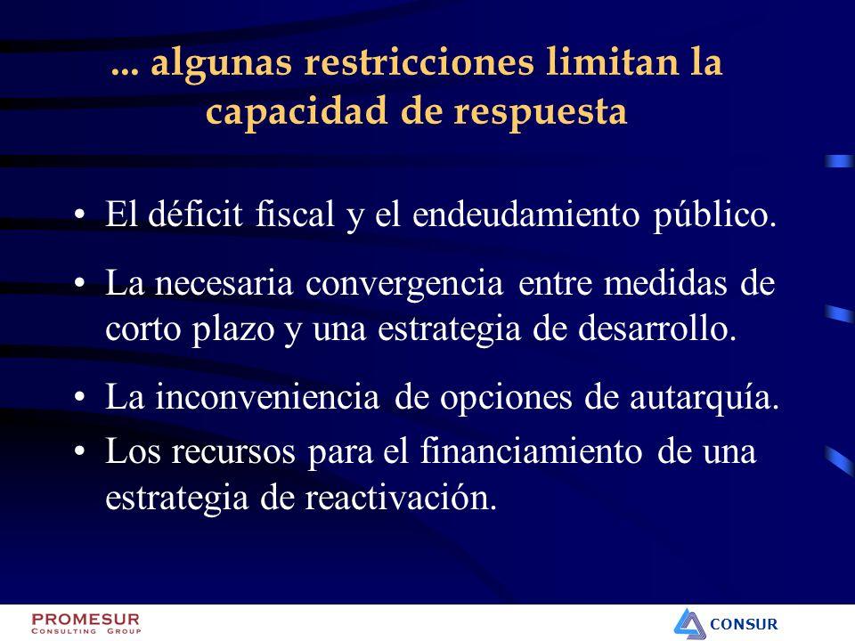 CONSUR... algunas restricciones limitan la capacidad de respuesta El déficit fiscal y el endeudamiento público. La necesaria convergencia entre medida