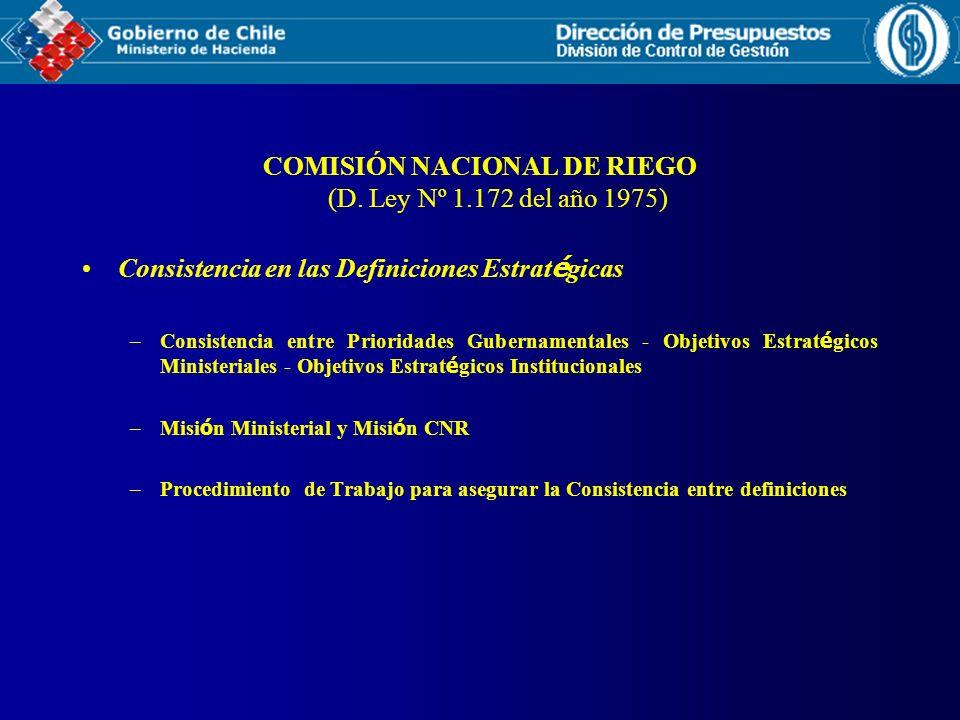 COMISIÓN NACIONAL DE RIEGO (D. Ley Nº 1.172 del año 1975) Consistencia en las Definiciones Estrat é gicas –Consistencia entre Prioridades Gubernamenta