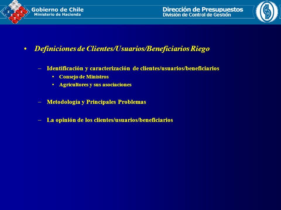 Definiciones de Clientes/Usuarios/Beneficiarios Riego –Identificación y caracterización de clientes/usuarios/beneficiarios Consejo de Ministros Agricu