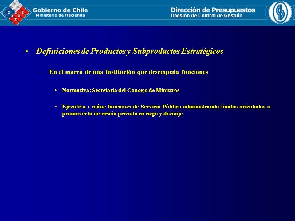 Definiciones de Productos y Subproductos Estratégicos –En el marco de una Institución que desempeña funciones Normativa: Secretaría del Concejo de Min