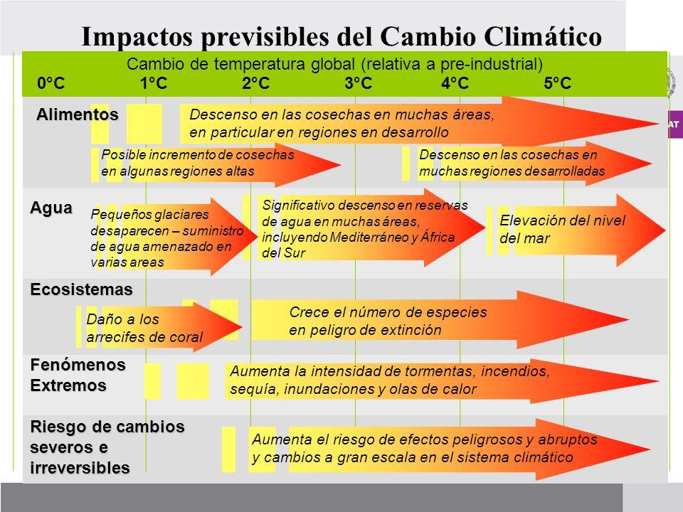 Impactos previsibles del Cambio Climático 1°C2°C5°C4°C3°C Elevación del nivel del mar Descenso en las cosechas en muchas áreas, en particular en regio