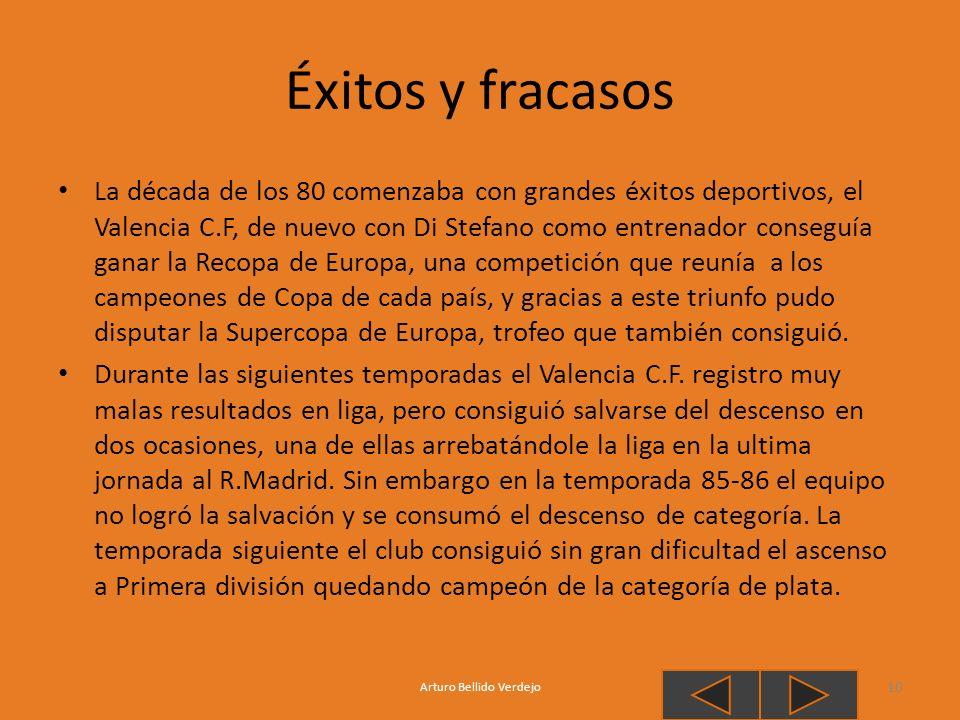 Éxitos y fracasos La década de los 80 comenzaba con grandes éxitos deportivos, el Valencia C.F, de nuevo con Di Stefano como entrenador conseguía gana