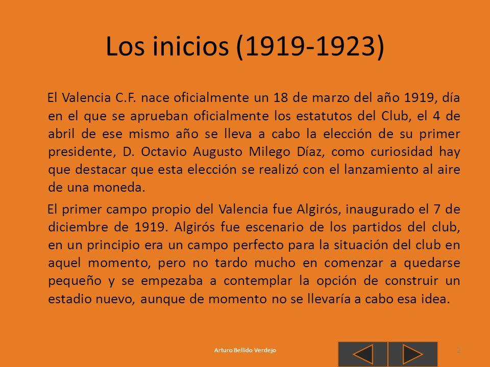 Los inicios (1919-1923) El Valencia C.F. nace oficialmente un 18 de marzo del año 1919, día en el que se aprueban oficialmente los estatutos del Club,