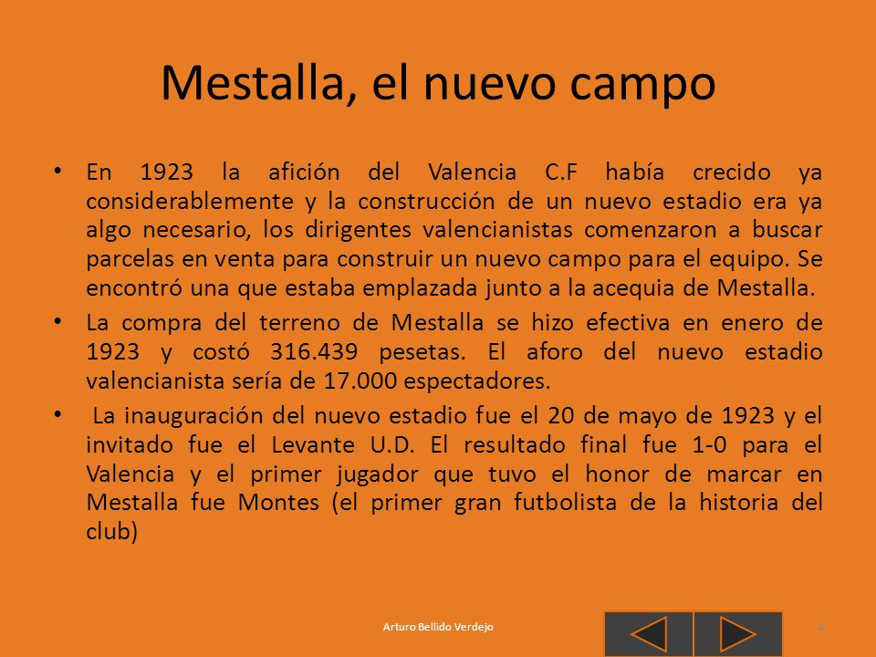 Mestalla, el nuevo campo En 1923 la afición del Valencia C.F había crecido ya considerablemente y la construcción de un nuevo estadio era ya algo nece