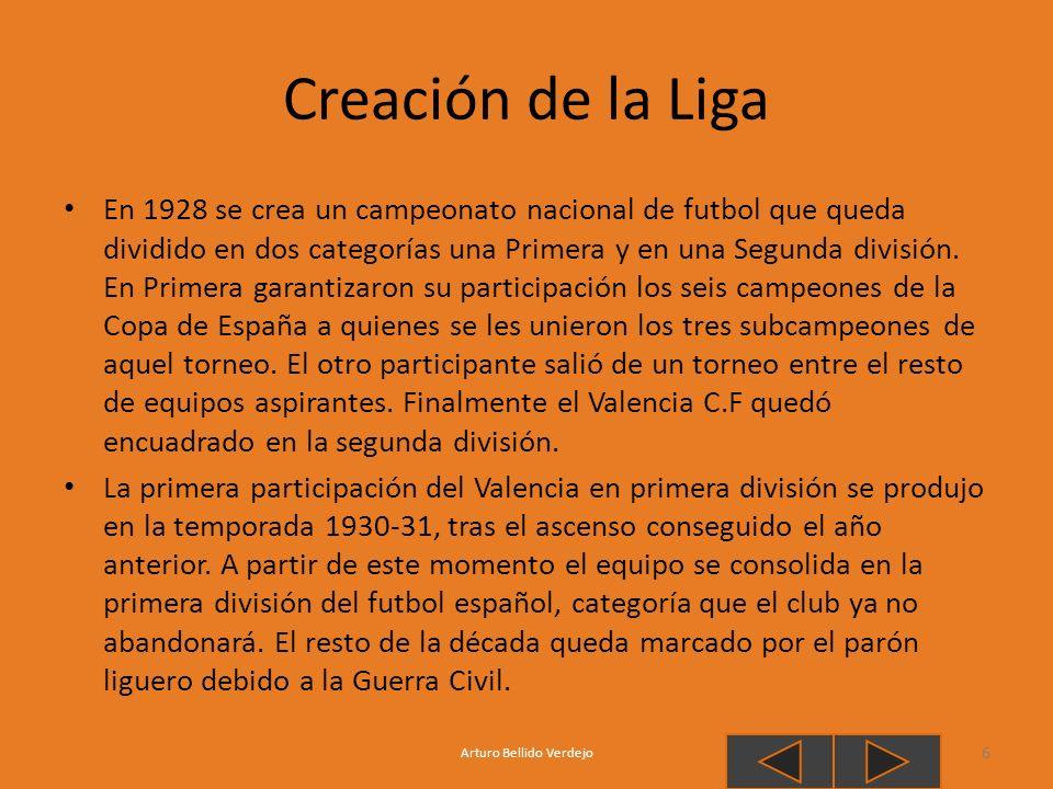 Creación de la Liga En 1928 se crea un campeonato nacional de futbol que queda dividido en dos categorías una Primera y en una Segunda división. En Pr