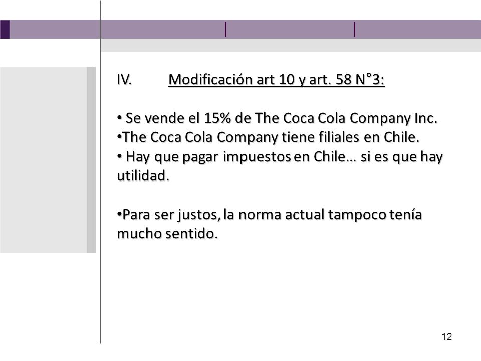 12 IV.Modificación art 10 y art. 58 N°3: Se vende el 15% de The Coca Cola Company Inc.