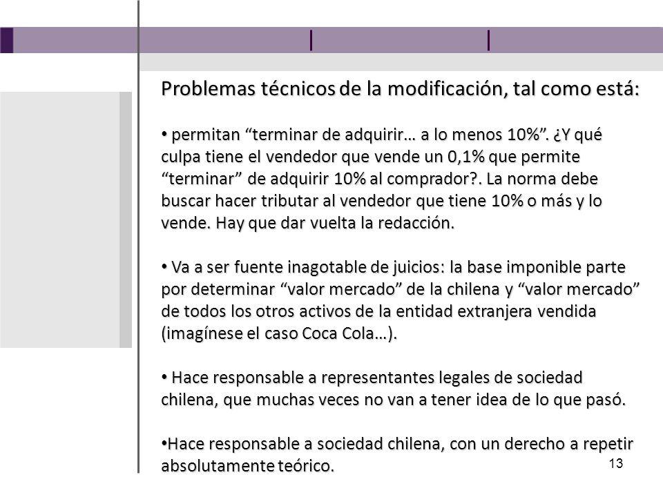 13 Problemas técnicos de la modificación, tal como está: permitan terminar de adquirir… a lo menos 10%.