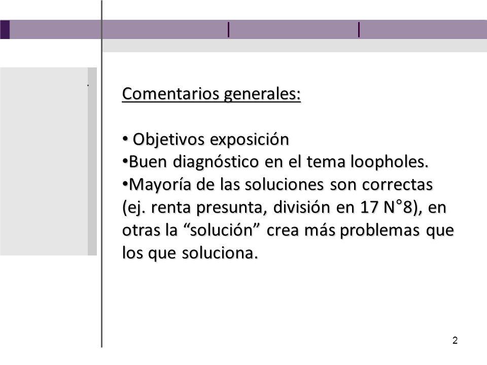 2 Comentarios generales: Objetivos exposición Objetivos exposición Buen diagnóstico en el tema loopholes.