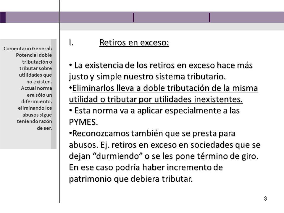 14 V.Retiros para reinvertir: Reconozcamos que se prestan para excesos, pero eso se podría arreglar de otras formas.