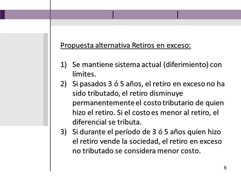6 Propuesta alternativa Retiros en exceso: 1)Se mantiene sistema actual (diferimiento) con límites.