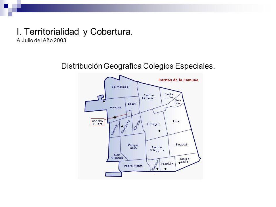 I. Territorialidad y Cobertura. A Julio del Año 2003 Distribución Geografica Colegios Especiales.