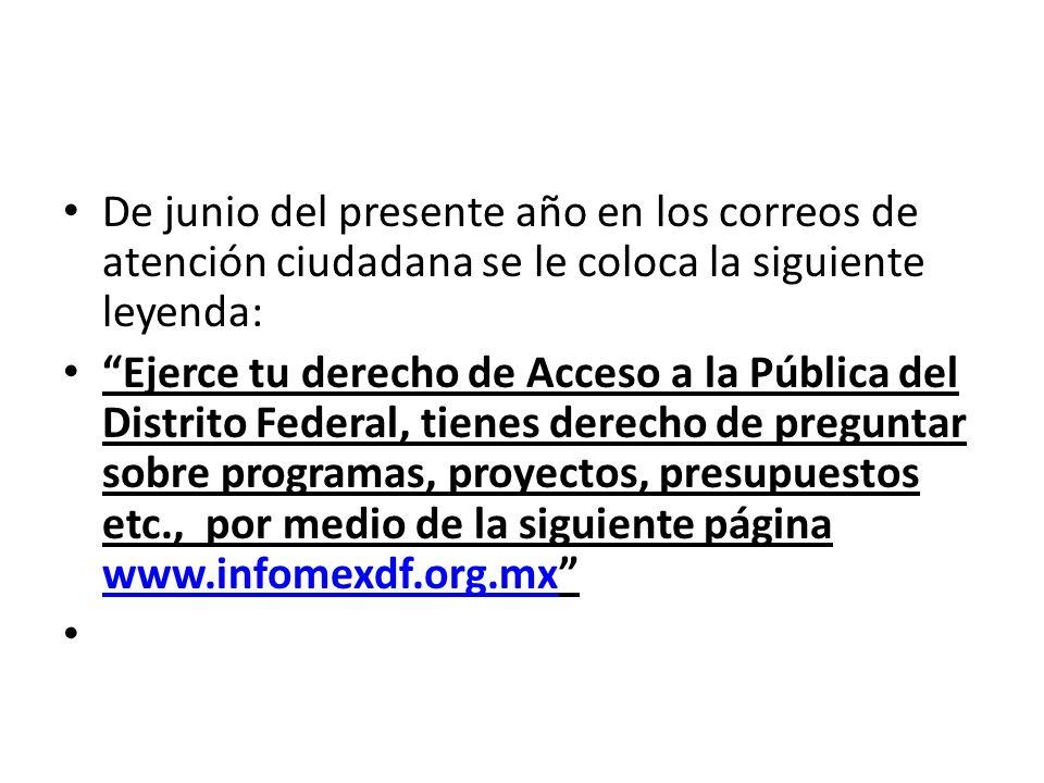 De junio del presente año en los correos de atención ciudadana se le coloca la siguiente leyenda: Ejerce tu derecho de Acceso a la Pública del Distrit