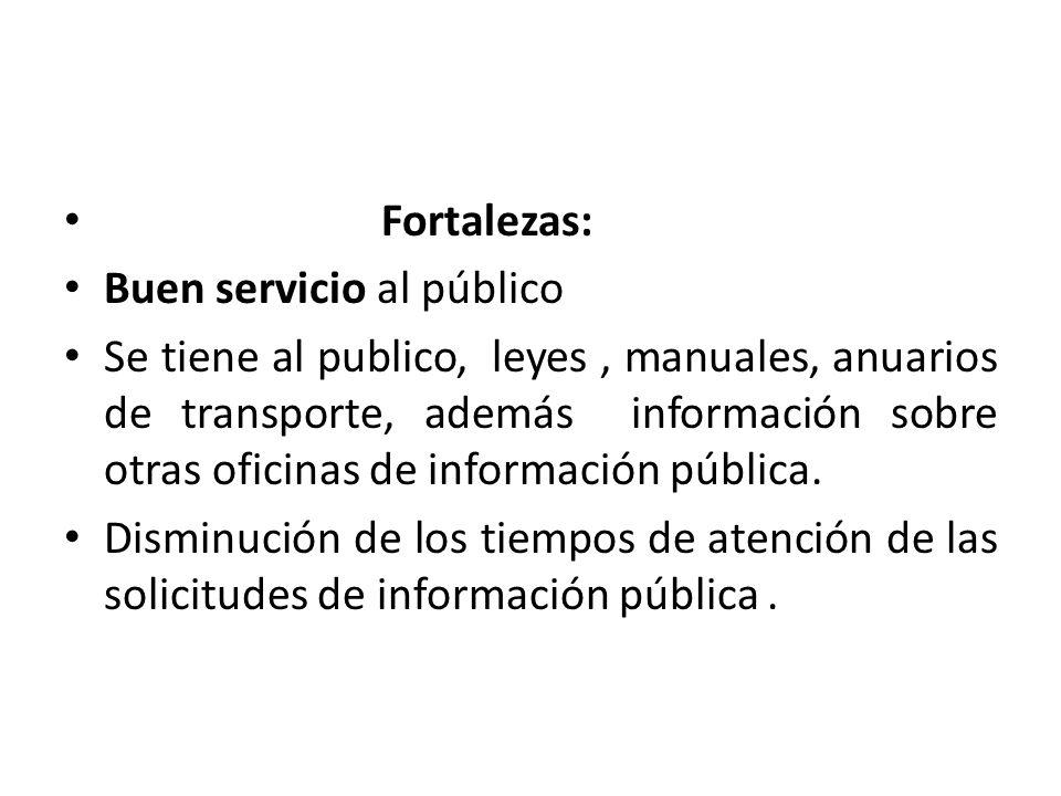 Fortalezas: Buen servicio al público Se tiene al publico, leyes, manuales, anuarios de transporte, además información sobre otras oficinas de informac